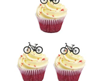 40 precut PEDAL BIKE peddal BIKES edible stand up cupcake toppers fairy topper cake decorating wafer card