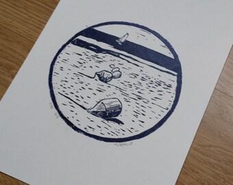 Low tide - buoy - linocut