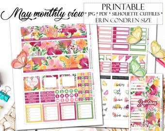 MAY 2018 Monthly View Planner Stickers for Erin Condren Lifeplanner/Printable Planner Stickers/May Monthly kit/May Monthly Stickers/Spring