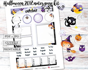 October 2017 Notes Page Stickers for Erin Condren Lifeplanner/Printable Notes Page Stickers/Halloween Planner Stickers/October Monthly kit