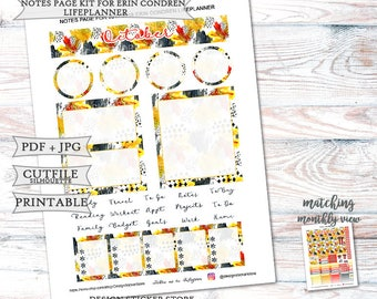 October 2017 Notes Page Stickers for Erin Condren Lifeplanner/Printable Notes Page Stickers/Printable Planner Stickers/October Monthly kit