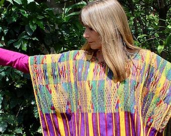 Vintage Guatemalan Huipil San Juan Sacatepequez - Dramatic Striped Pattern in Deep Green, Gold, Purple, and Brown - FREE SHIPPING