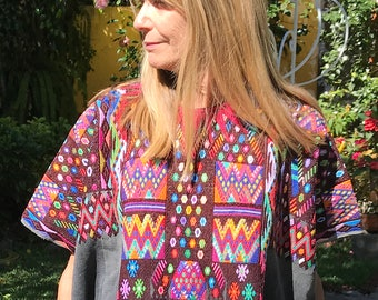 Hand-Woven Vintage Guatemalan Huipil from Chichicastenango - Beautiful, Multicolored Geometrics on Dark Chocolate Brocade - FREE SHIPPING