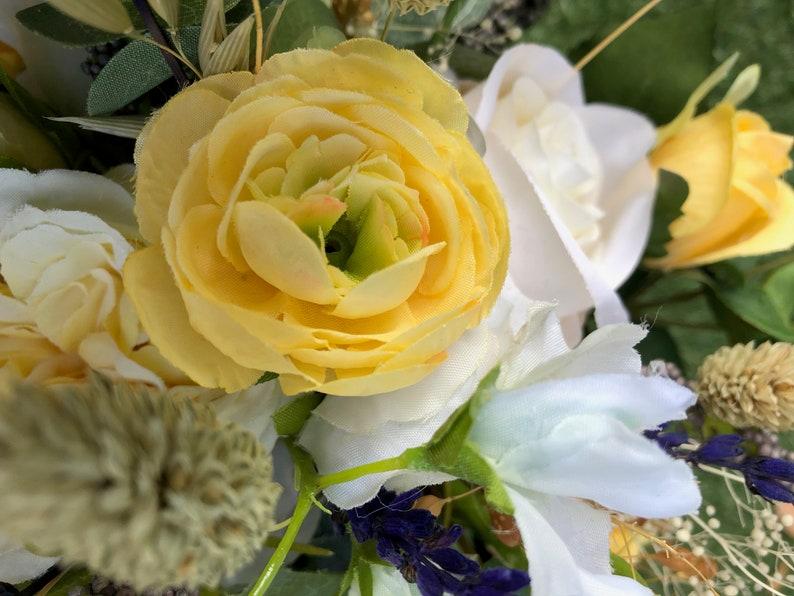 rustic flowers destination Weddings lemon roses wedding bouquet roses lavender Bohemian bouquets Boho Sunshine Bride/'s bouquet
