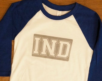 IND youth tshirt. Kids' Colts fan tee. IND blue and white tee.