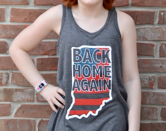 Back Home Again. Indiana themed youth flowy racer tank.