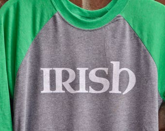 Irish tee in raglan baseball 3/4 sleeve length style.