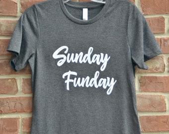 Sunday Funday ladies' tee. Football fun tshirt. Football mom tee. Football fan tshirt. Bella and Canvas soft Sunday Funday shirt.