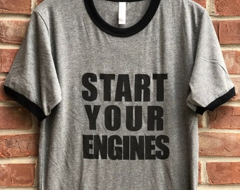 Start Your Engines race day ringer tee.