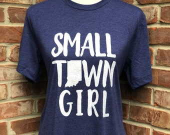 Small town Indiana girl tee in navy triblend.