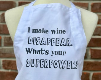 I make wine disappear apron. Superhero mom. Funny apron. Screen printed apron. Fun apron.