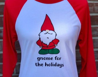 gnome for the holidays adult raglan tee.