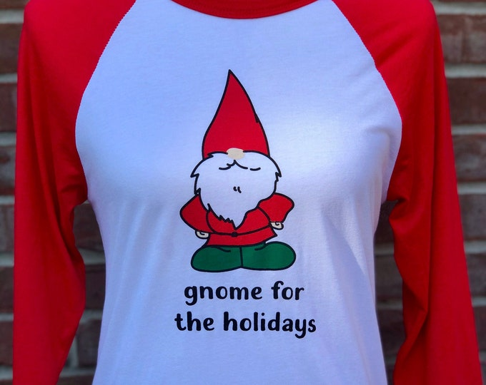 Featured listing image: gnome for the holidays adult raglan tee.