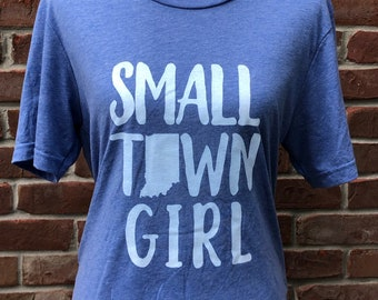 Small town Indiana girl tee in denim triblend.