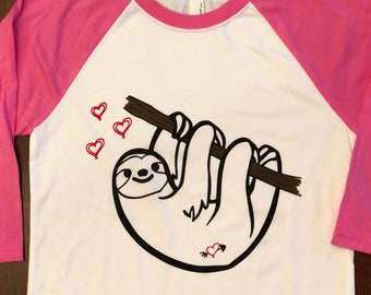 Sloth Valentine's Day youth tee.