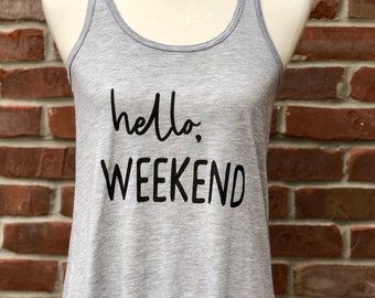 hello weekend flowy racer tank.
