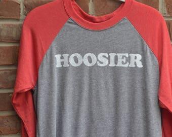 Hoosier tee in raglan baseball 3/4 sleeve length style