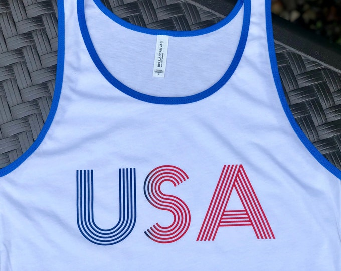 Featured listing image: USA. Men's ringer jersey tank.