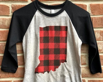 Indiana Buffalo plaid youth tshirt.
