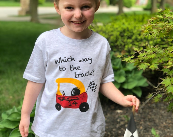 Featured listing image: Which way to the track? Short sleeved kids' racing tee.