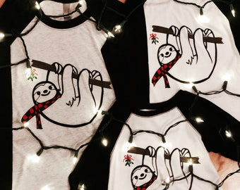 Sloth youth Christmas tee.