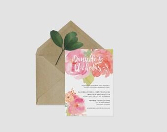 Bright Floral Wedding Invitation Printable