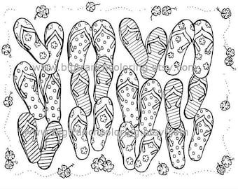 Summer Flip Flops Adult Coloring Page