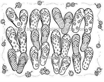 f95f7dc39f350c Summer Flip Flops Adult Coloring Page - Colouring - Printable - Instant  Download