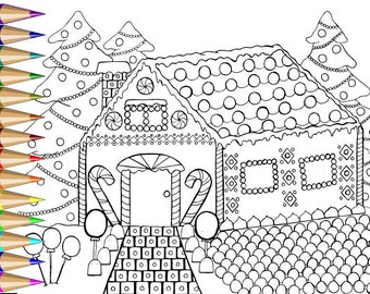 Christmas Gingerbread House Adult Coloring Page