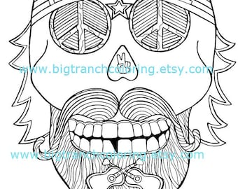 Sugar Skull Hippie Coloring Page - Halloween - Adult Coloring - Colouring - Skull - Printable - Instant Download