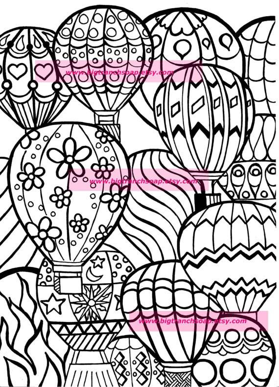 - Adult Coloring Colouring Hot Air Balloons Hand Drawn Etsy