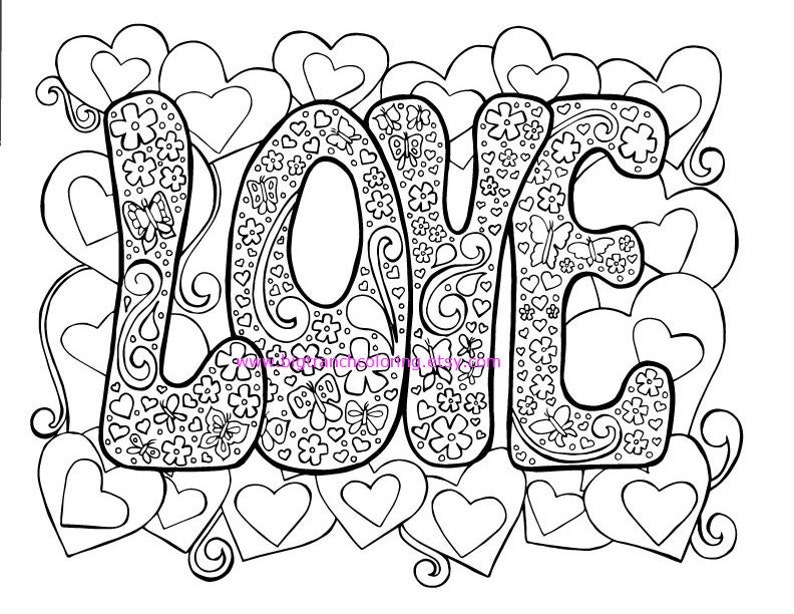 3fda427b9cd51 Love Adult Coloring Page Hippie Valentine s Day