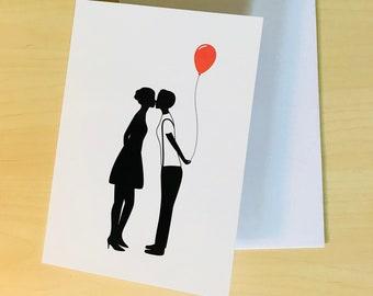Lesbian Silhouette Couple 01 - Lesbian birthday card - lesbian birthday gift - lesbian girlfriend gift - lesbian girlfriend card
