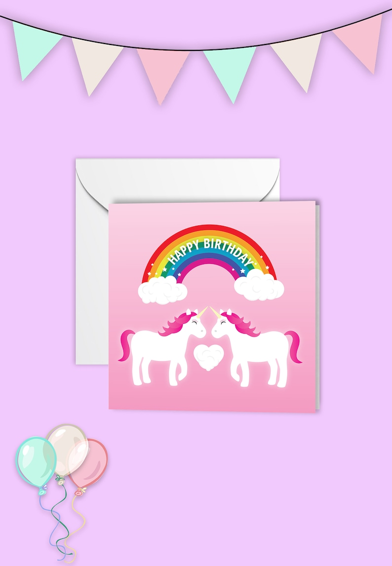 Lesbian Unicorn Birthday Card Great For Friends Too