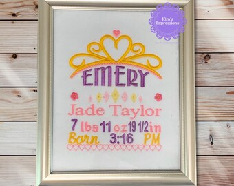 Personalized Framed Princess Birth Announcement, New Baby Gift, Frame Included
