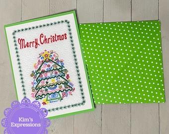 Embroidered Greeting Card, Postcard, Christmas