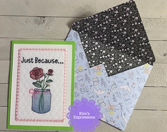 Embroidered Greeting Card, Just Because, Roses, Mason Jar, Flowers