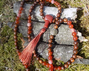 Dragon Vein Carnelian Sacral Chakra Mala Bracelet/Necklace Mesa Sostenible Donation Item