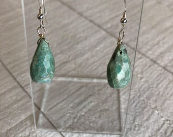 Gorgeous fuchsite drop earrings