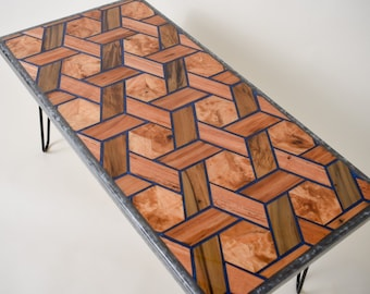 3-D Woven Pattern Coffee Table with Sinker Cypress, Blue Resin.