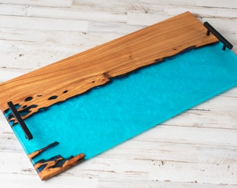 Sinker cypress and resin river style serving tray or charcuterie board