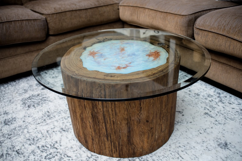 Attrayant Round Sinker Cypress Coffee Table With Glass And LED Lights