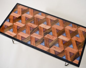 Triangle Pattern Coffee Table with Sinker Cypress and color-change resin