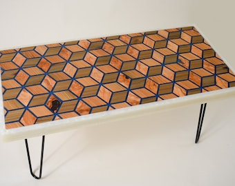 3-D Diamond Pattern Coffee Table with Sinker Cypress, Blue Resin and Glow Pigment.