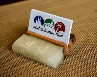 Resin and Wood Business Card Holder