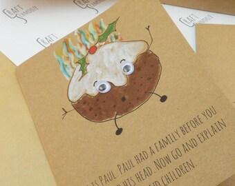 Christmas Pudding, Christmas Card, Christmas, hand drawn, Christmas cards, xmas cards, holiday card, funny Christmas, A6 card