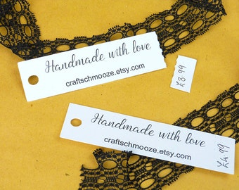 printed, handmade with love, White tags, Etsy shop tags, hang tags, custom tags, business labels