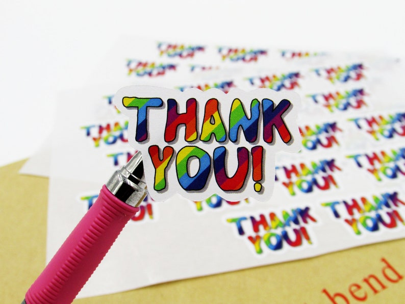 Thankyou Note Rainbow Thank You Stickers Cute Packaging Labels Fun Packaging Stickers Business Stationery Label Rainbow Stripe Branding