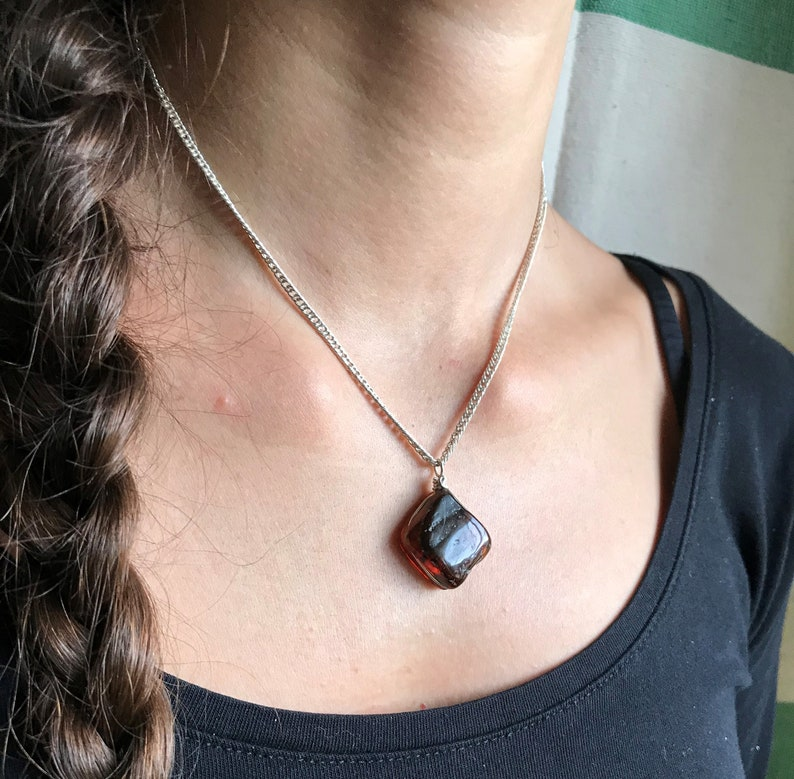 Amber pendant with sterling silver wire Handpolished /& hand grooved Black cotton cord included 100/%natural Mexican amber with inclusions