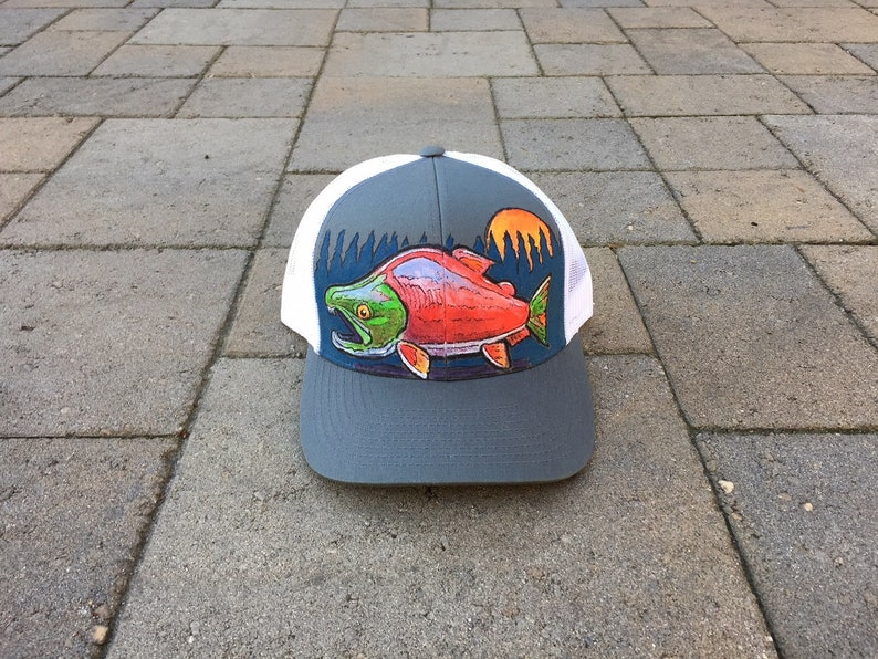 2a55b9dbbdbfc Area Code Art Fishing Hat Hand Painted Sockeye Salmon